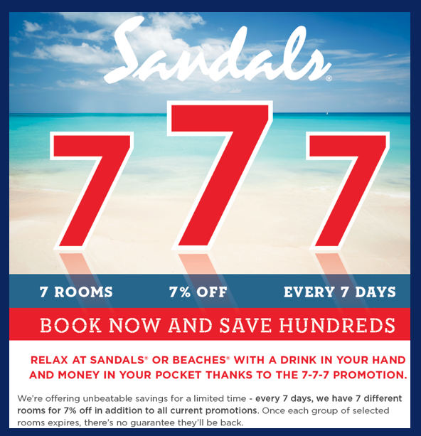 Sandals 777 deal: 7 rooms, 7% off, every 7 days